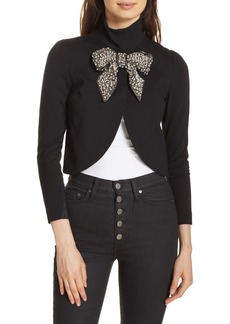 Alice + Olivia Addison Embellished Bow Crop Jacket