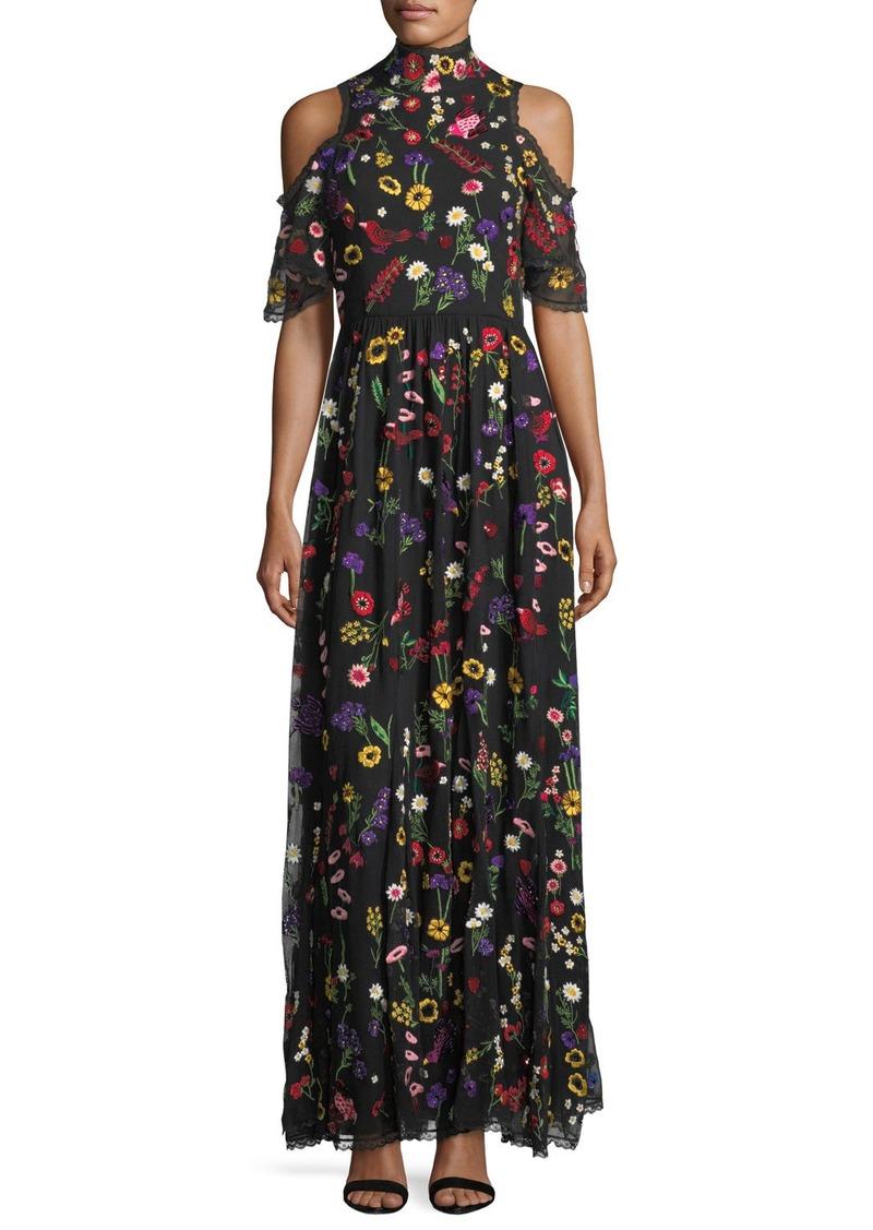Alice + Olivia Adella Embroidered Mock-Neck Cold-Shoulder Gown