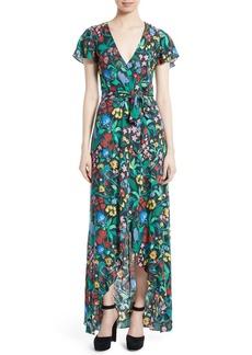 Alice + Olivia Adrianna Floral Faux Wrap Maxi Dress