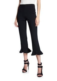 Alice + Olivia Alena High-Waist Split Ruffle-Hem Pants