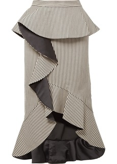 Alice + Olivia Alessandra ruffled striped cotton-blend midi skirt