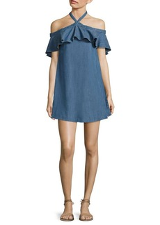 Alice + Olivia Alexia Off-The-Shoulder Chambray Halter Dress