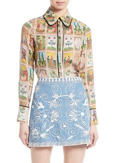 Alice + Olivia Alfie Print Silk Peter Pan Collar Blouse