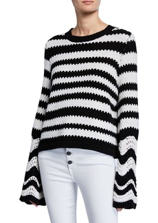 Alice + Olivia Alivia Striped Textured Bell-Sleeve Pullover