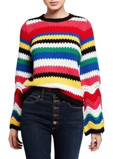 Alice + Olivia Alivia Textured Bell-Sleeve Pullover