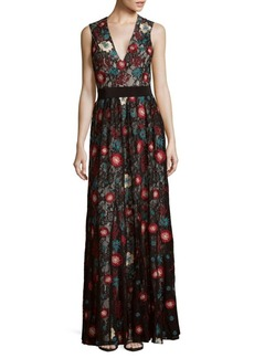 Alice + Olivia Ally Embroidered Floor-Length Dress