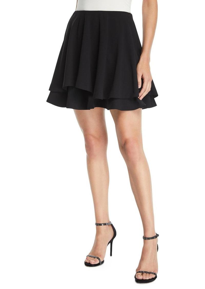 Alice + Olivia Alva Asymmetric Layered Flare Skirt