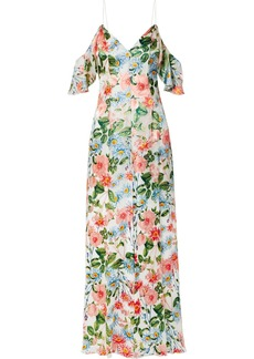 Alice + Olivia Alves Cold-shoulder Devoré-chiffon Maxi Dress