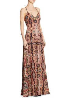 Alice + Olivia Alves Paisley-Print Crisscross Maxi Dress