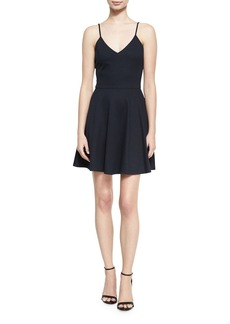Alice + Olivia Alves V-Neck Flared Mini Dress
