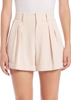 Alice + Olivia Amani High-Waist Pleated Shorts