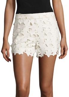 Alice + Olivia Amaris Faux Leather & Lace Shorts