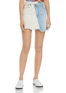 Alice + Olivia Amazing Asymmetric Two-Tone Denim Skirt