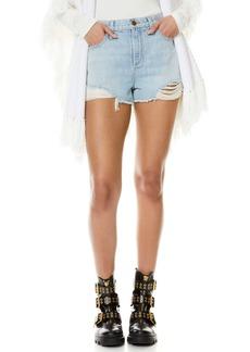 Alice + Olivia Amazing Distressed High Waist Cutoff Denim Shorts (Silver Lining)