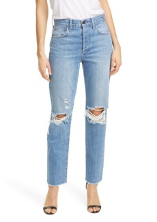 Alice + Olivia Amazing High Waist Ripped Boyfriend Nonstretch Cotton Jeans (Not Yours)