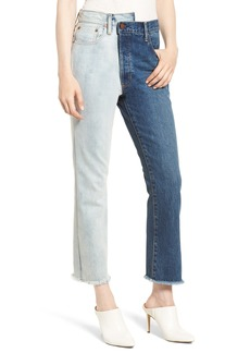 Alice + Olivia Amazing Two-Tone High Waist Boyfriend Jeans