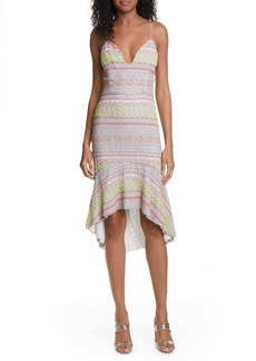 Alice + Olivia Amina All Over Embroidery Sweetheart Neck Cotton Dress