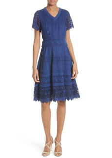 Alice + Olivia Anabel Lace Fit & Flare Dress