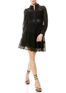 Alice + Olivia Anaya Tiered Fit & Flare Long Sleeve Dress