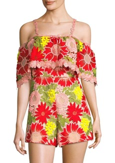 Alice + Olivia Anelle Floral Lace Romper