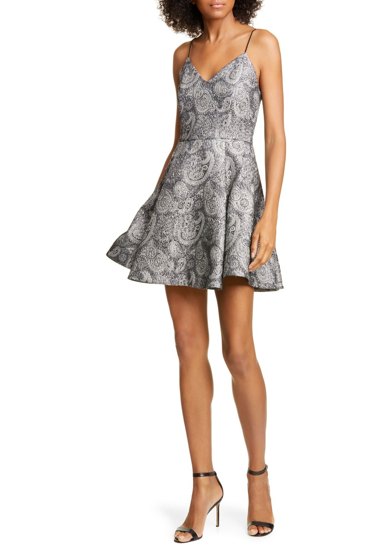 Alice + Olivia Anette Metallic Paisley Fit & Flare Dress