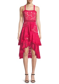 Alice + Olivia Angelita Asymmetric Tiered Lace Date Night Dress