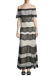 Alice + Olivia Anika Off-the-Shoulder Lace Evening Gown