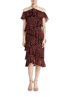 Alice + Olivia Annabeth Off-Shoulder Hearts Burnout Velvet Dress