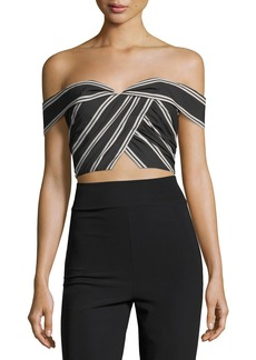 Alice + Olivia Annalyn Off-the-Shoulder Striped Crop Top