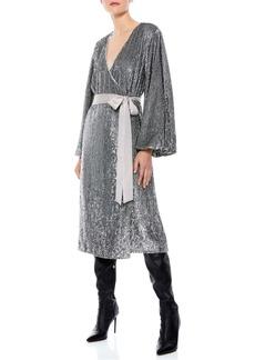 Alice + Olivia Anne Sequin Long Sleeve Wrap Dress
