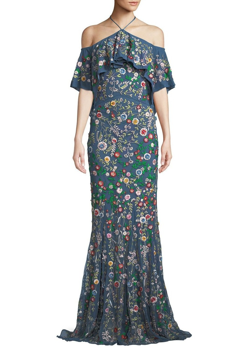 Alice + Olivia Annelea Floral-Embroidered Halter Gown | Dresses