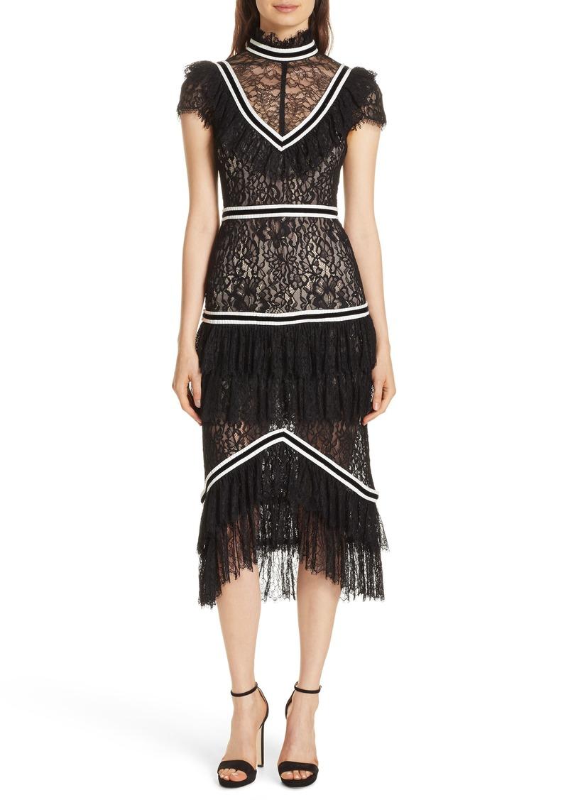 Alice + Olivia Annetta Tiered Lace Midi Dress