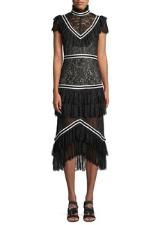 Alice + Olivia Annetta Tiered Turtleneck Lace Ruffle Midi Dress