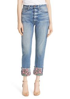 Alice + Olivia AO.LA Amazing Embroidered Cuff Slim Girlfriend Jeans (Fools Rush In)