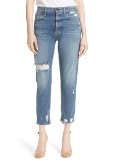 Alice + Olivia AO.LA Amazing Ripped Slim Girlfriend Jeans (Shaken Not Shirred)