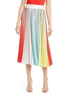 Alice + Olivia Arden Colorblock Pleated Skirt
