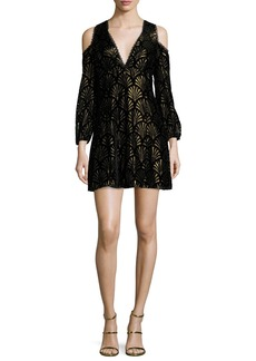 Alice + Olivia Arla Cold-Shoulder Metallic Dress