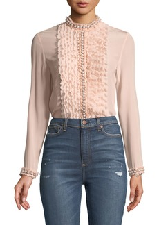 Alice + Olivia Arminda Button-Down Ruffled Chiffon Blouse w/ Pearlescent Trim