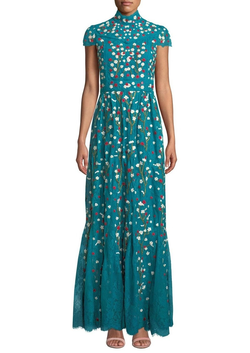 Alice + Olivia Arwen Embroidered Godet Gown