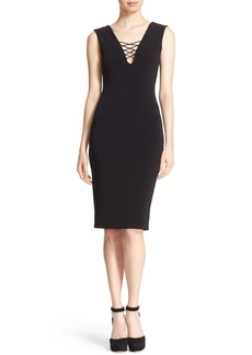 Alice + Olivia 'Asha' Lace-Up V-Neck Sheath Dress