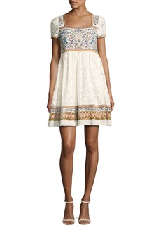 Alice + Olivia Asia Embroidered Square-Neck Babydoll Dress