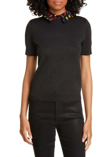 Alice + Olivia Aster Removable Graphic Collar Short Sleeve Sweater