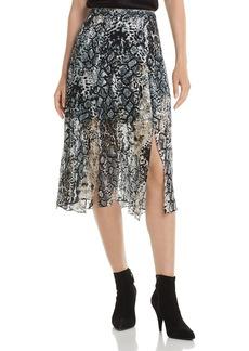 Alice + Olivia Athena Burnout Midi Skirt