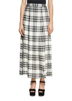 Alice + Olivia Athena Double Slit Plaid Maxi Skirt