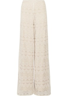 Alice + Olivia Athena embroidered silk-voile wide-leg pants