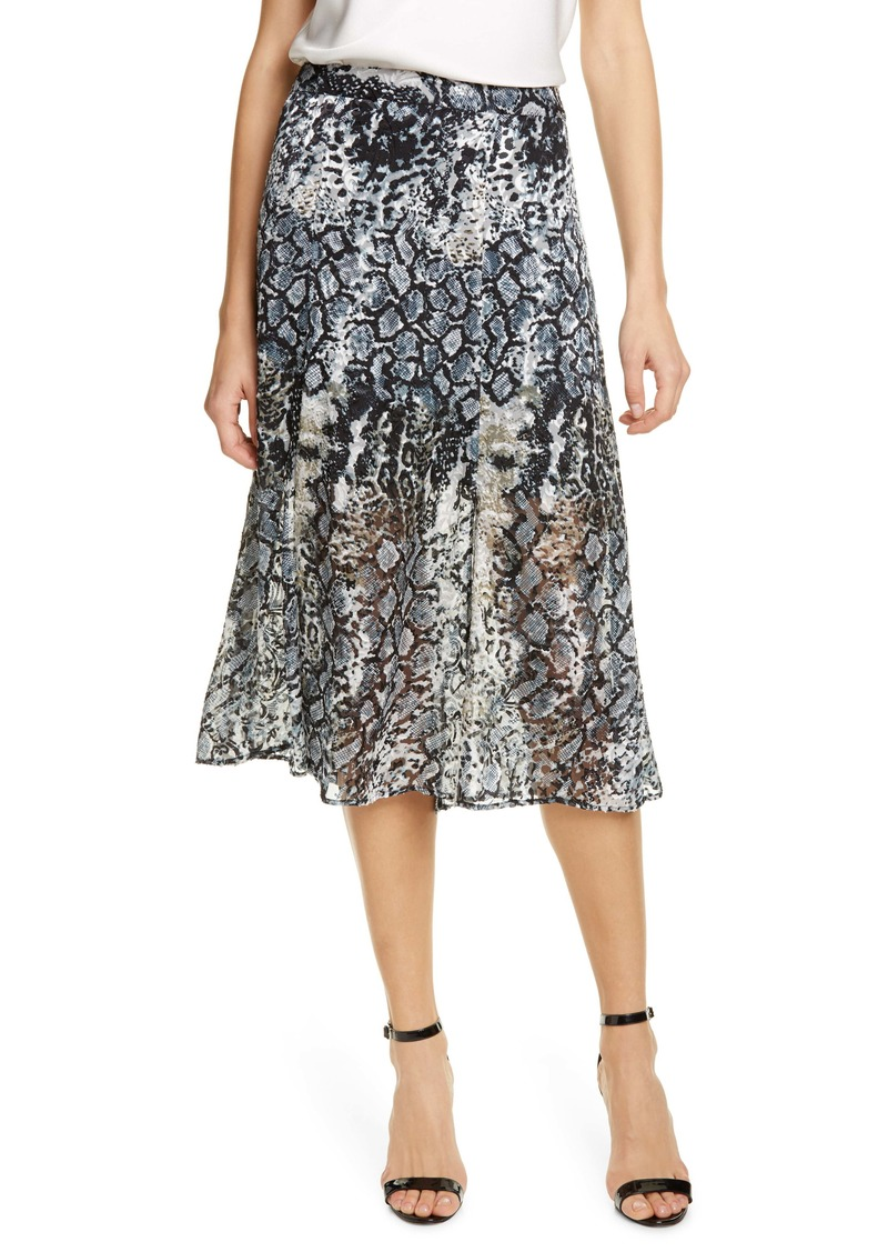 Alice + Olivia Athena Snake Print Double Slit Skirt