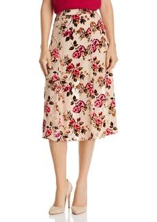 Alice + Olivia Athena Velvet Floral Burnout Midi Skirt