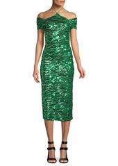 Alice + Olivia Audra Embellished Off-the-Shoulder Halter Dress
