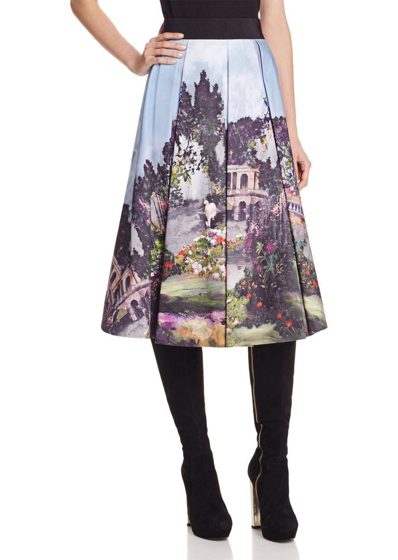 Alice + Olivia Audrey Printed Box Pleat Skirt