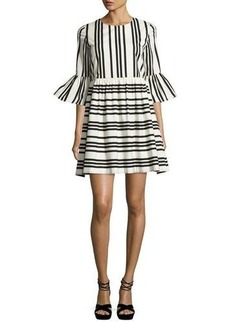 Alice + Olivia Augusta Striped Ruffle-Sleeve Dress